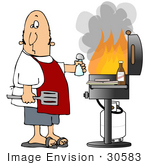 #30583 Clip Art Graphic Of A Nervous Caucasian Man Wearing A Red Apron Holding A Spatula And Salt Shaker Standing In Front Of Hamburger Patties And Bbq Sauce And A Gas Bbq Grill With Huge Flames