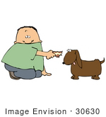 #30630 Clipart Illustration Of A Caucasian Boy Feeding Human Food To A Little Brown Dog