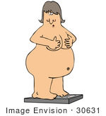 #30631 Clipart Illustration Of An Overweight Naked Caucasian Woman Holding Her Chest While Standing On A Scale To Check Her Weight