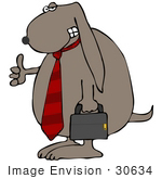 #30634 Clipart Illustration Of A Friendly Dog Businessman Wearing A Tie And Carrying A Briefcase Giving The Thumbs Up