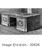 #30636 Stock Illustration of The Resolute Desk, Which Is A Partner's Desk That Was Given To The 19th American President, Rutherford B. Hayes, From Queen Victoria On November 23rd In 1880 by JVPD