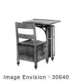 #30640 Stock Photo Of A Wooden School Desk Over A White Background