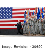 #30650 Stock Photo Of United States Army Soldiers Clapping As Vice President Dick Cheney Enters Holt Stadium Before Addressing Uniformed Service Members At Logistics Support Area Anaconda On Balad Air Base Iraq March 18th 2008