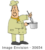#30654 Clip Art Graphic Of A Male Caucasian Chef In A Yellow Chefs Hat And Jacket Using A Whisk To Stir Food In A Pot
