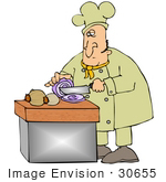 #30655 Clip Art Graphic Of A Male Caucasian Chef In A Yellow Chefs Hat And Jacket Shedding A Tear While Cutting Onions