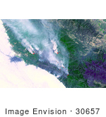 #30657 Stock Photo Of The Fires Burning Near Big Sur California As Seen From Space