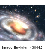 #30662 Stock Photo Of A Growing Quasar Black Hole At The Center Of A Faraway Galaxy