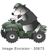 #30673 Clipart Illustration Of A Tough Border Collie Doggy Driving A Green Quad