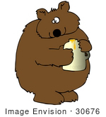 #30676 Clip Art Graphic of a Cute Chubby Bear Holding a Jar of Honey by DJArt