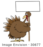 #30677 Clip Art Graphic of a Turkey Bird on a Farm, Holding a Blank White Sign by DJArt