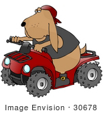 #30678 Clip Art Graphic Of A Cute Hound Dog In A Vest Boots And A Hat Riding A Red Quad