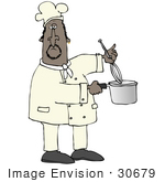 #30679 Clip Art Graphic Of A Male African American Chef Stirring A Pot Of Food With A Whisk