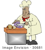 #30681 Clip Art Graphic Of A Hispanic Male Chef In A Chefs Hat And Jacket Crying While Prepping Food And Slicing Onions In A Kitchen