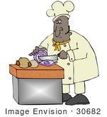 #30682 Clip Art Graphic of an African American Male Chef In A Chefs Hat And Jacket, Crying While Prepping Food And Slicing Onions In A Kitchen by DJArt