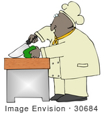 #30684 Clip Art Graphic Of An African American Male Chef Wearing A Chefs Hat And Jacket Prepping And Cutting A Green Bell Pepper In A Kitchen