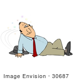 #30687 Clip Art Graphic of a Confused Caucasian Man Seeing Stars And Lying On The Floor After Slipping by DJArt