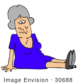 #30688 Clip Art Graphic Of A Confused Elderly Caucasian Woman Sitting On The Floor After Falling