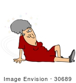 #30689 Clip Art Graphic Of A Confused Elderly Caucasian Woman Seeing Stars And Lying On The Floor After Slipping