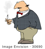 #30690 Clip Art Graphic Of A Fat Bald Caucasian Man Smoking A Cigarette On His Smoke Break