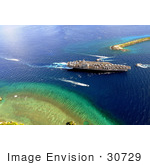 #30729 Stock Photo Of An Aircraft Carrier In Agana Harbor On Guam
