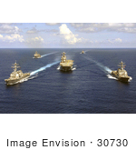 #30730 Stock Photo Of United States Military Ships And Aircraft Carriers On The Atlantic Ocean