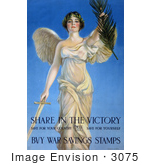#3075 Stock Photography of a Vintage World War I War Savings Stamps Poster of a Winged Woman Holding a Sword and Palm Branch by JVPD