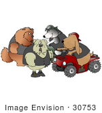 #30753 Clip Art Graphic of a Group of Biker Dogs, A Chow Chow, Bulldog, Border Collie And Bloodhound, Chatting While Two Sit On Quads by DJArt