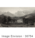 #30754 Stock Illustration Of A Native American Encampment With Tipis And Horses On A Lake Shore In Yosemite Valley Of The Rocky Mountains