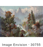 #30755 Stock Illustration Of A Beautiful River Cascading Through Autumn Trees In The Rocky Mountains