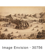 #30756 Stock Illustration Of A Rocky Mountain Landscape Of Covered Wagons And A Tent At A Place Called Pretty Camp Nestled At The Edge Of A Forest By A River