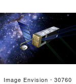 #30760 Stock Illustration Of A Sim Planetquest Satellite In Orbit With A Blue Starry Background