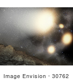 #30762 Stock Illustration Depicting What The Night Sky Might Look Like From A Hypothetical Planet Around A Star Tossed Out Of An Ongoing Four-Way Collision Between Big Galaxies Which Are Shown As Yellow Blobs