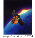 #30764 Stock Illustration Of The Galaxy Evolution Explorer In Space Observing Ultraviolet Frequencies
