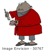 #30767 Clip Art Graphic Of An Old African American Guy With A Bald Head Wearing A Red Robe Over His Gray Pajamas Brushing His Dentures Or Applying Paste To His False Teeth
