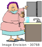 #30768 Clip Art Graphic Of A Grouchy Old Caucasian Lady Wearing A Pink Robe Over Blue Pjs And Purple Curlers In Her Hair Taking Medicine Out From A Bathroom Cabinet