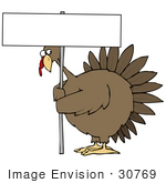 #30769 Clip Art Graphic of a Worried Turkey Bird Holding Up A Blank White Sign On A Poultry Farm by DJArt