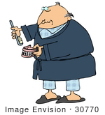 #30770 Clip Art Graphic Of An Old Caucasian Guy With A Bald Head Wearing A Blue Robe Over His Pajamas Brushing His Dentures Or Applying Paste To His False Teeth