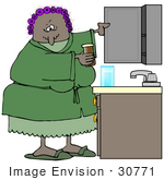 #30771 Clip Art Graphic Of A Grouchy Old African American Lady Wearing A Pink Robe Over Blue Pjs And Purple Curlers In Her Hair Taking Medicine Out From A Bathroom Cabinet
