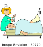 #30772 Clip Art Graphic Of A Blond White Female Nurse Handing A Pill And A Glass Of Water To An Injured White Man Hooked Up To A Traction In A Hospital Bed