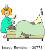 #30773 Clip Art Graphic Of A White Female Nurse Blond Hair Giving Water And Medicine To An Injured Black Man Who Has His Leg Hooked Up To A Traction In A Hospital Bed