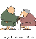 #30775 Clip Art Graphic Of A White Senior Couple Wearing Robes And Slippers Leaning On Canes With Their Privates Sagging To The Floor