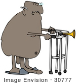 #30777 Clip Art Graphic Of A Nude Old Black Senior Man Wearing Blue Slippers Using A Walker His Penis Drooping Down To The Floor