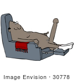 #30778 Clip Art Graphic Of A Horny Old Black Man Sitting Naked In A Chair Wearing Socks And Sporting A Huge Boner