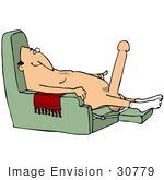 #30779 Clip Art Graphic Of A Horny Old White Man Wearing Only Socks Sitting Naked In A Chair With A Huge Boner