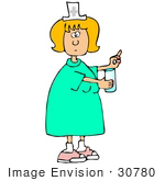 #30780 Clip Art Graphic Of A Blond White Female Nurse Holding Out A Pill And Glass Of Water For A Hospital Patient