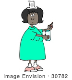#30782 Clip Art Graphic Of A Black Female Nurse Holding Out A Pill And Glass Of Water For A Hospital Patient