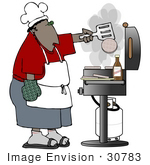 #30783 Clip Art Graphic of a Black Man Wearing A Chef's Hat, An Apron, Red Shirt And Blue Shorts, Flipping Burgers On A Bbq Grill by DJArt