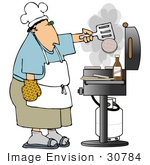 #30784 Clip Art Graphic Of A White Man Wearing A Chef'S Hat An Apron Blue Shirt And Khaki Shorts Flipping Burgers On A Bbq Grill