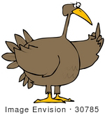 #30785 Clip Art Graphic Of A Frustrated Turkey Bird Flipping Someone Off