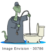 #30786 Clip Art Graphic Of A Snake Plumber In Coveralls Using A Toilet Snake To Fix A Clog And Plumbing Problems In A Bathroom